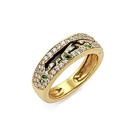Carrera y Carrera Panther Diamond Emerald Onyx 18k Yellow Gold Ring Size 6.5