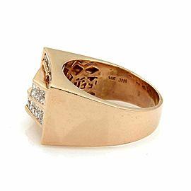 Men's 1.85ct Diamond 14k Rose Gold Rectangular Fancy Top Ring