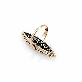 Estate Old Mine Cut Diamonds Sapphire Marquise 14k Rose Gold Ring