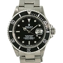 Rolex Submariner 16800 Mens Automatic Stainless Steel Watch Black Dial 40mm
