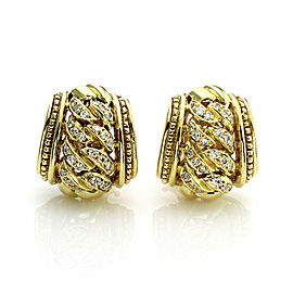 Judith Ripka Diamond 18k Yellow Gold Curb Link Style Huggie Earrings