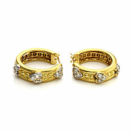 Judith Ripka Diamond 18k Gold Hearts & Bead Design Hoop Earrings
