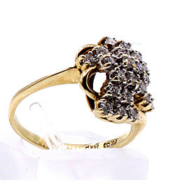 14k Yellow Gold Diamond Ladies Ring 3.2 Grams Size 5.25