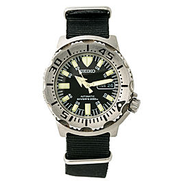Seiko Black Monster 7S26-0350 Mens Automatic Diver's Watch SS 43mm
