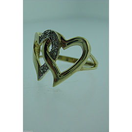 10K YELLOW GOLD DOUBLE HEART DIAMOND LADIES RING SIZE 6.25