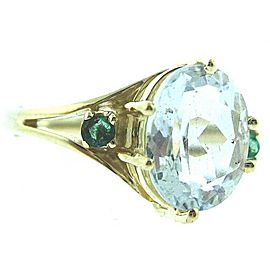 14K YELLOW GOLD CLEAR STONE LADIES RING W/ RING GUARD SIZE 6.5