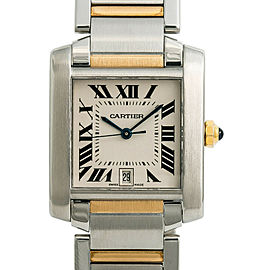 Cartier Tank Francaise 2682 W51005Q4 Mens Quartz Watch Two Tone SS 28mm