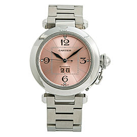 Cartier Pasha 2475 W31044M7 Womens Automatic Watch Salmon Dial SS 35mm