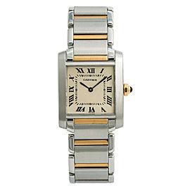 Cartier Tank Francaise 2301 W51007Q4 Womens Quartz Watch 18k Two Tone 25mm