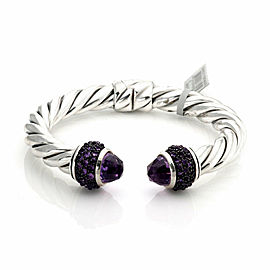 David Yurman Amethyst Sterling Silver 9mm Thick Cable Cuff Bangle Bracelet