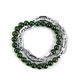 "JOHN HARDY STERLING SILVER GREEN JADE BEADS 16.5"" DOUBLE WRAP BRACELET"