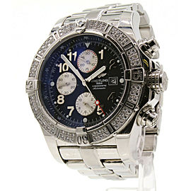 Breitling Super Avenger Watch A13370 Gray Sticks Dial 2.00ct 2 Row Bezel