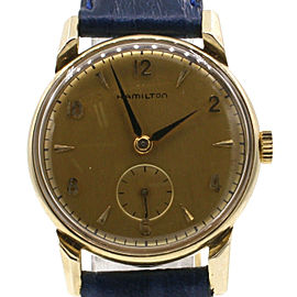 Vintage Hamilton 14k Yellow Gold Manual Wind Round Mens Watch