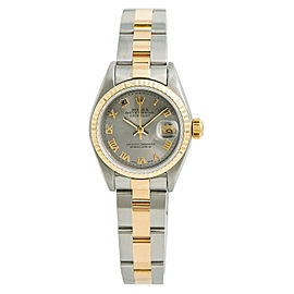 Rolex Datejust 69173 Womens Automatic Watch Gray Dial Two Tone SS 26mm