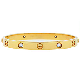 Cartier 18k Yellow Gold 4 Diamonds LOVE Bracelet Size 17 OLD STYLE