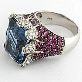 Sonia Bitton London Blue Topaz Diamond Ruby Fashion Ring 14k White Gold