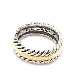David Yurman Men's Sterling 14k Yellow Gold Cable Band Ring Size 10.5