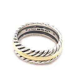 David Yurman Men's Sterling 14k Yellow Gold Cable Band Ring Size 10.5