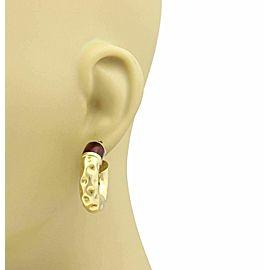 Hammered 18k Yellow Gold & Red Enamel Hallow Tube Hoop Earrings
