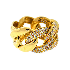 18k Yellow Gold Wide Cuban Link Pave Diamond Ring