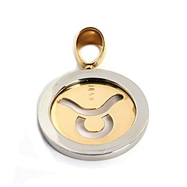 Bulgari 18k Yellow Gold Steel Zodiac Round Pendant