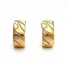 Chopard Chopardissimo Diamond 18k Yellow Gold 7.6mm Wide Huggie Earrings