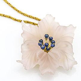 Buccellati Blossom Carved Rose Quartz Sapphire Brooch Pendant Necklace