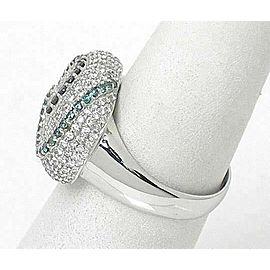 Estate Multi Colored Diamond Swirl Cocktail 14k White Gold Ring