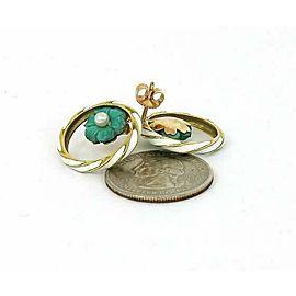Vintage 14k Yellow Gold Enamel & Pearls fancy Floral Circle Earrings