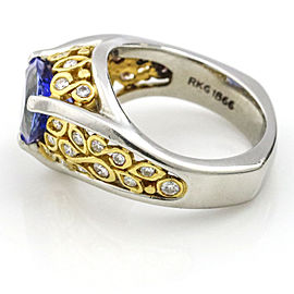 Richard Krementz Platinum 22k Yellow Gold Trillion Tanzanite Diamond Ring