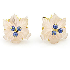 Buccellati Sapphire Rose Quartz Flower Stud Earrings in 18k Yellow Gold