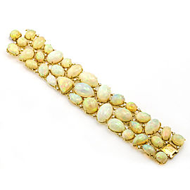 Moliva 117.05 Carat 18k Yellow Gold Opal Diamond Wide Link Bracelet