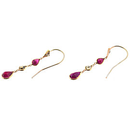 14k Rose Gold Diamond Ruby Single Cut Dangle Earrings