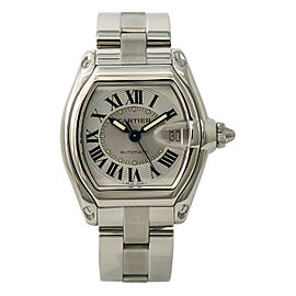 Cartier Roadster 2510 W62025V3 Mens Automatic Watch Silver Dial SS 38mm