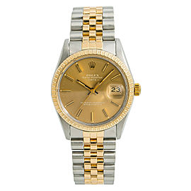 Rolex Date 15053 Mens Automatic Watch With Box & Papers Two Tone SS 34mm