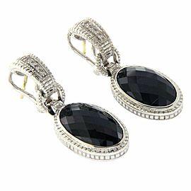 Judith Ripka 925 Sterling Silver 18K Gold Black Onyx & Diamonique Earrings » U32