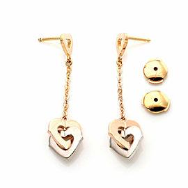 Cartier C Hearts 18k Rose & White Gold Interlaced Hearts Dangle Earrings w/Cert.