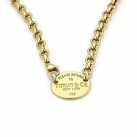 Tiffany & Co. Please Return Oval Tag 18k Yellow Gold Necklace