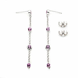Tiffany & Co Peretti Pink Sapphire By The Yard 18k White Gold Dangle Earrings
