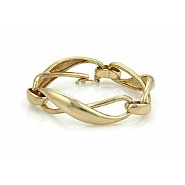 Vintage High Curved Infinity Link 14k Yellow Gold Bracelet