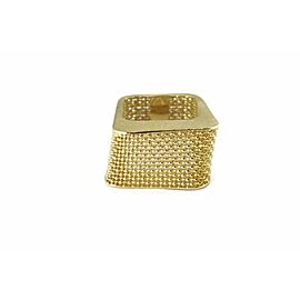 Fancy Square 14k Yellow Gold Band Mesh Design Ring