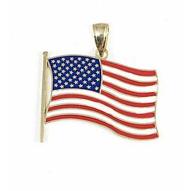 Red White & Blue Enamel 14k Yellow Gold USA Flag Pendant