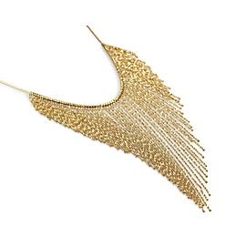 Estate Cascade Fringe Drape 18k Yellow Gold Necklace