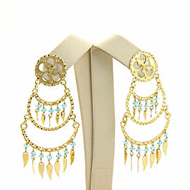 Sun Day Aquamarine18k Yellow Gold 3 Tier Dangling Bead Chandelier Earrings