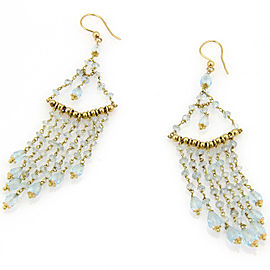 Aquamarine 14k Yellow Gold Multi Strand Bead Chandelier Earrings