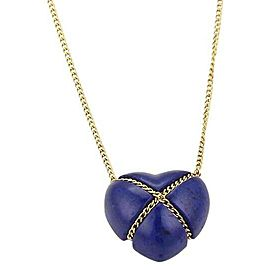 Tiffany & Co. Lapis 18k Yellow Gold Crossover Heart Pendant