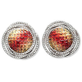 18K White Gold 1.04 CT Diamonds & 8.51 CT Multi Sapphire Round Earring »E3133