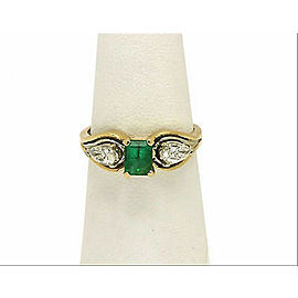 Estate Green Emerald & 2 Pear Shaped Diamond Ring