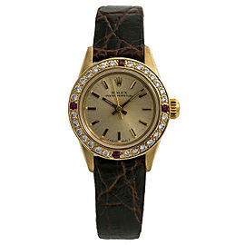 Rolex Oyster Perpetual 67197 Womens Automatic Watch 1.12CT 14K Yellow Gold 26mm