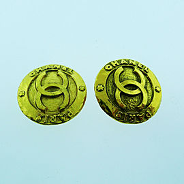 CHANEL Vintage CC Logos Gold Button Earrings Clip-On France
